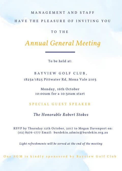 AGM Monday 16th October 2017